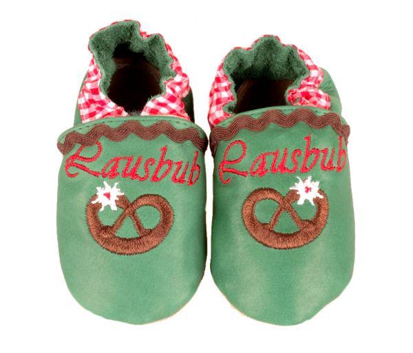 Baby Trachtenschuhe mit Brezel grün - Leder Krabbelschuhe Anouk et Emile