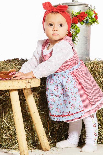 Babydirndl Kinderdirndl rot weiß kariert - Kinder Trachten Bondi