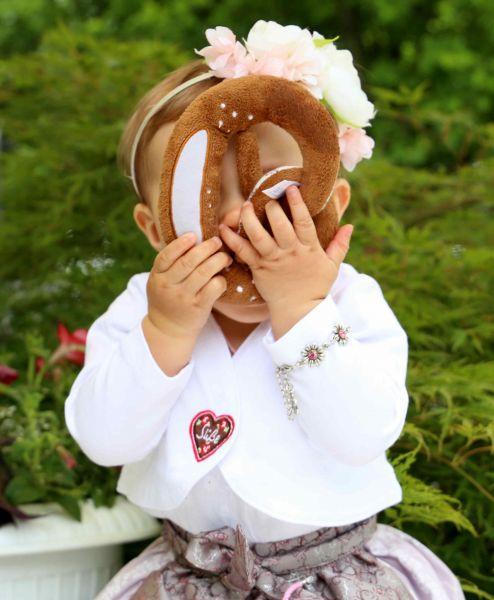 Baby Trachtenjacke Mädchen - Plüsch Brezel - Baby Tracht Kindertrachten