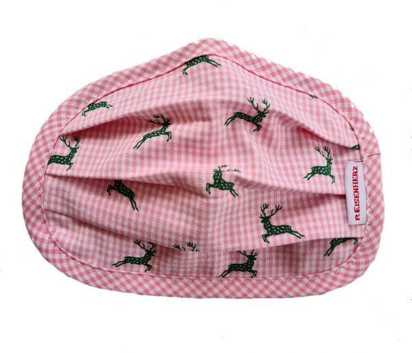 Trachtenmaske Erwachsene Hirsch rosa - Mund Nasenmaske
