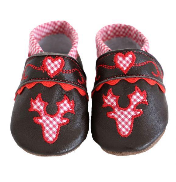 Baby Trachtenschuhe Krabbelschuhe aus Leder in braun rot - Geweih P. Eisenherz