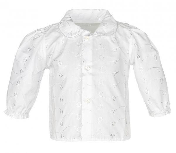 Taufbluse Röschen in Weiß - Baby-Hemd langarm - Carlina