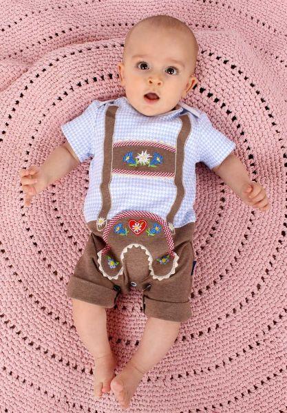 Lederhosen Strampler Body Spieler blau - Baby Tracht P. Eisenherz