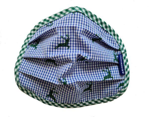 Trachtenmaske Kinder Hirsch blau - Mund Nasenmaske