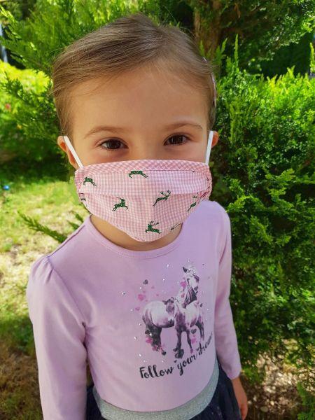 Mund Nasen Maske Kinder Trachtenmaske Hirsch rosa - P Eisenherz