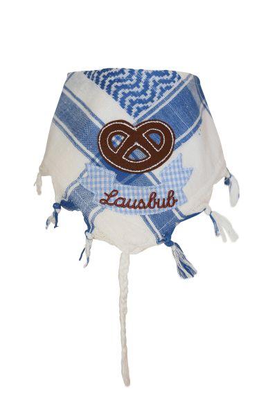 Dreieckstuch & Baby Trachtentuch Brezel Lausbub blau - Kindertrachten P. Eisenherz