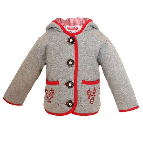 Trachtenjacke für Baby & Kinder grau rot - Tirol Kindertrachten P. Eisenherz
