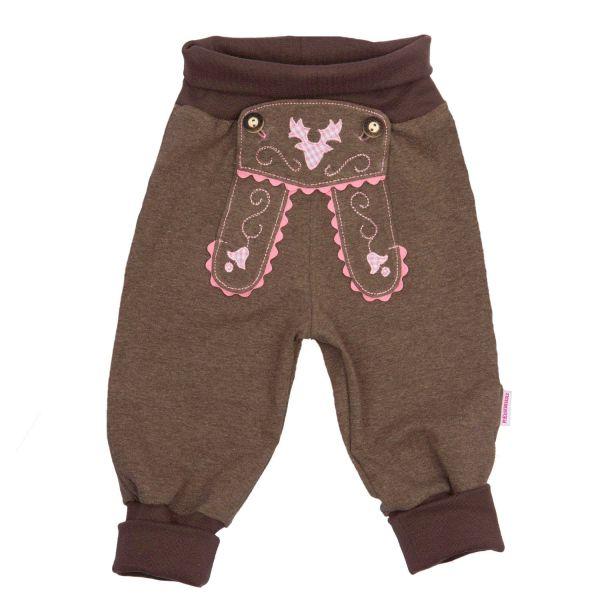 Baby Lederhose & Trachtenhose für Mädchen - braun mit Rosa P. Eisenherz