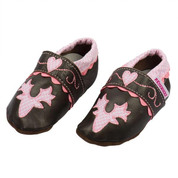 Trachtenschuhe fürs Baby - Leder Krabbelschuhe rosa P. Eisenherz