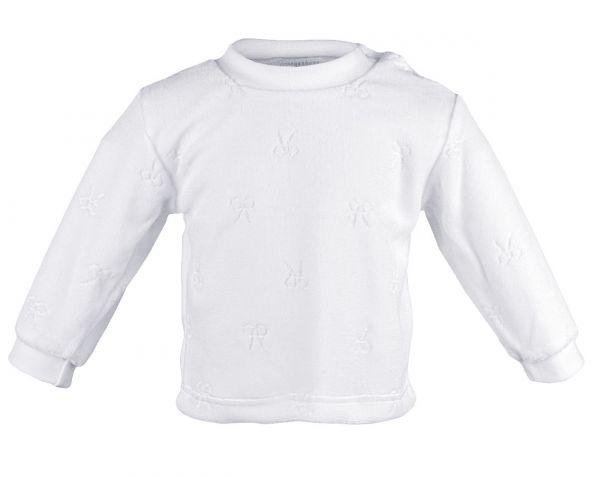 Weißes Nicki-Shirt Schleifchen - ideal zur Taufe - Carlina