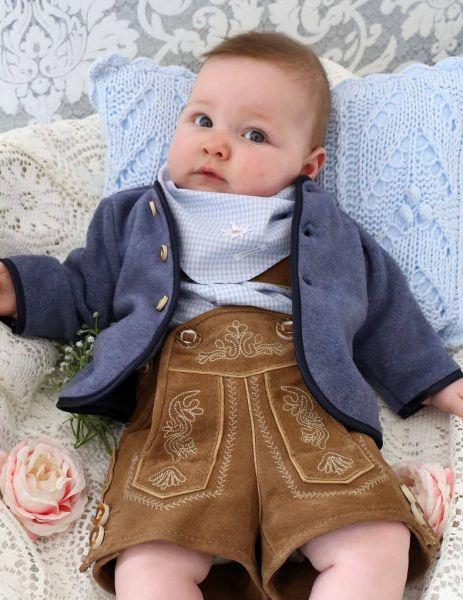 Festliche Trachtenjacke fürs Baby in blau - Loden Carlina