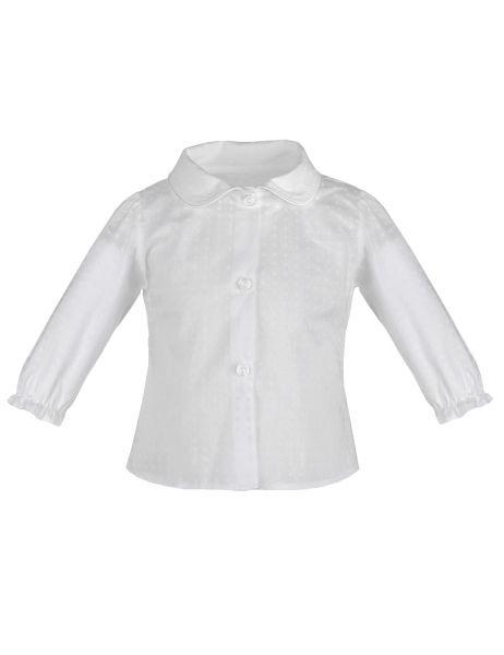 Baby-Bluse unisex in Weiß aus Baumwolle für Mädchen und Jungen Taufe