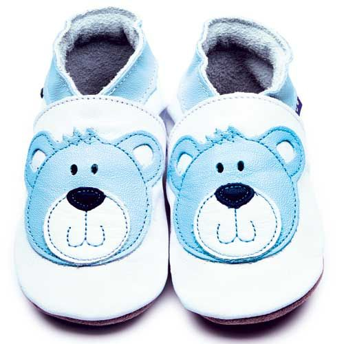 Leder Krabbelschuhe, Babyschuhe mir Bär in blau - Inch Blue