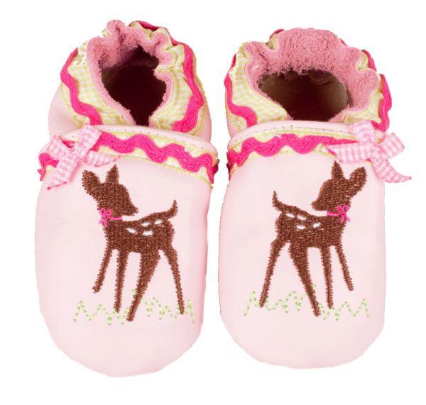 Trachtenschuhe Baby rosa mit Rehkitz - Leder Krabbelschuhe - Anouk et Emile
