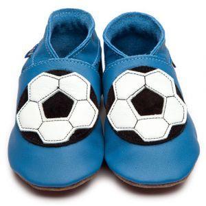 Krabbelschuhe mit Fußball in blau - Inch Blue