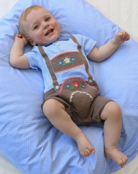 Lederhosen Strampler Body blau - Baby Tracht P. Eisenherz